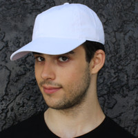 Solid white blank cotton baseball cap.