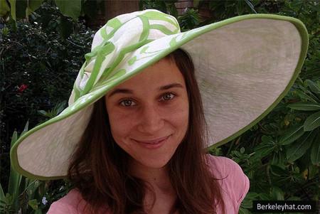 Green Women's Wide Brim Floral Print Sun Hat