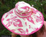 Pink Women's Wide Brim Floral Print Sun Hat - back view