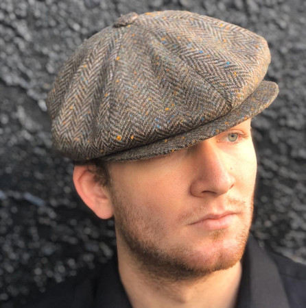 Olive-Brown Herringbone Motoring Cap