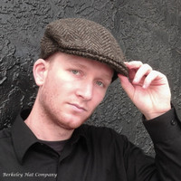 Irish Heavy Wool Brown Herringbone Flat Cap