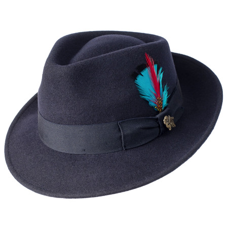 Navy Quickstep fedora by Bigalli