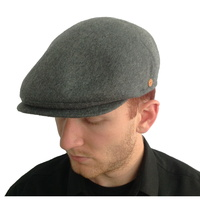 Charcoal Cashmere Cap with Earflaps by Mayser, earflaps tucked in.