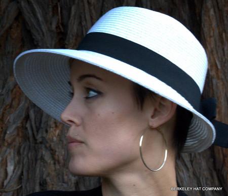 Asymmetrical sun bonnet in white