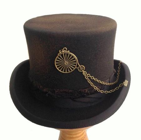 Distressed Penny-Farthing Steampunk Top Hat in Wool Felt