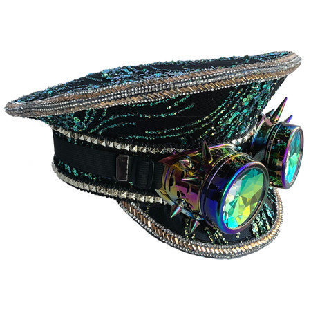 Sequin Captains Cap Peacock Green and Black