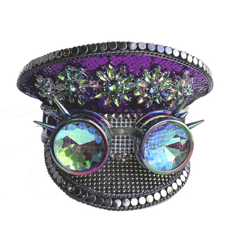 Rhinestone Captain's Hat Purple and Silver