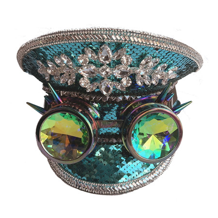 Rhinestone Captain's Hat, Turquoise and Silver