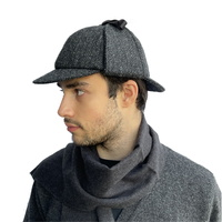 Charcoal Black Herringbone Deerstalker Hat