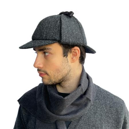 Charcoal Black Herringbone Deerstalker Hat