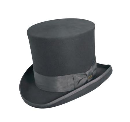 Grey Classic Top Hat hand made of wool felt.