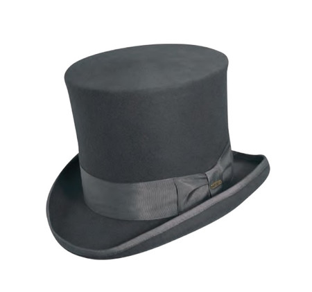 Grey Classic Top Hat hand made of wool felt.