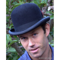 Bowler Derby Hat, Black Fur Felt