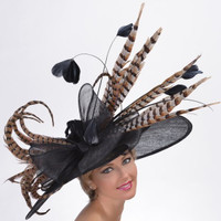 Golden Pheasant Kentucky Derby Hat in Natural and Black