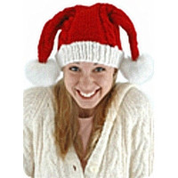 Knit Santa Hat Double Pom-Poms on female model