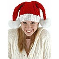 Knit Santa Hat Double Pom-Poms on female model