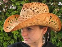 Macrame Western Straw Hat