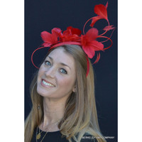 Spring Feather Flower Fascinator in red