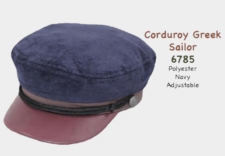 Navy Corduroy Greek Style Sailor Cap