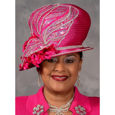 5c6c956f3d Eve Andrea Asymmetric Brim Church Hat in Hot Pink