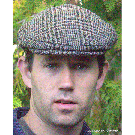 Harris Tweed Brown Plaid Houndstooth Flat Cap (IR07) 23ca8519a96