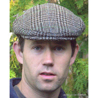 Harris Tweed Brown Plaid Houndstooth Flat Cap