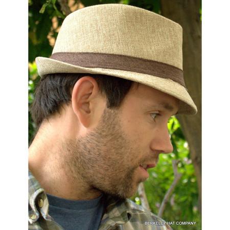 8077e7608230c Linen Two Tone Fedora Hat