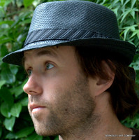 Stingy Straw Fedora Hat in black