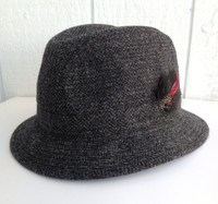 IRISH WALKING HAT, CHARCOAL HERRINGBONE fine weave handwoven wool tweed