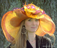 Purple, orange and yellow Dynamic Multicolored Kentucky Derby Hat