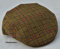HARRIS TWEED IVY FLAT CAP, OLIVE HOUNDSTOOTH (IR67)
