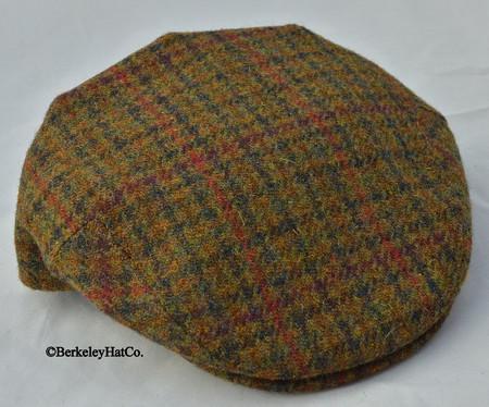 HARRIS TWEED IVY FLAT CAP, OLIVE HOUNDSTOOTH