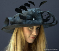 Fancy Feather Tea Party Hat, Black