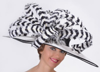 Black and White Madison Ave Feather Kentucky Derby Hat