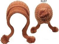 Knit Earflap Hat With Pom-Poms