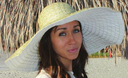 Extra Wide Brim Metallic Ribbon Sun Hat on model
