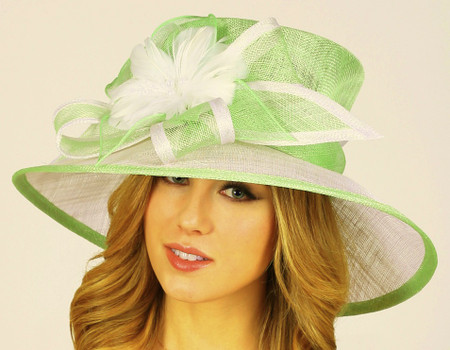 Two-Tone Bridesmaids Hat in Lime and White.