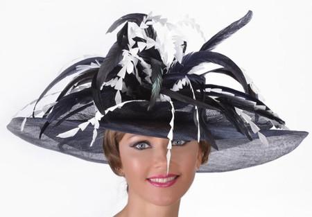 Feather Bouquet Sinamay Derby Hat in Dark Navy with White