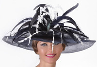 Feather Bouquet Sinamay Derby Hat in Dark Navy with White
