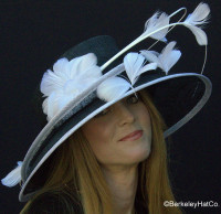 Show Stopper Derby Hat Black with White Trim.