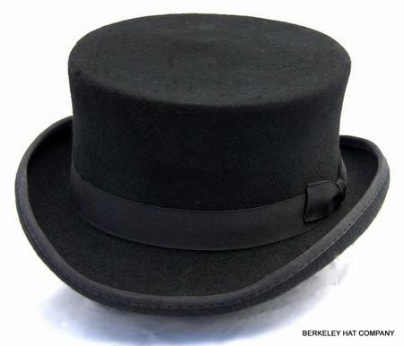 John Bull Top Hat, wool felt in black