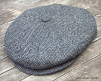 Irish Newsboy Cap dark grey herringbone IR68