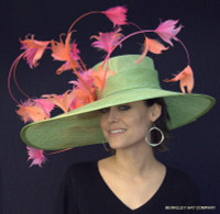 Pistachio Green Golden Gate Derby Hat With Pink and Orange Feathers.
