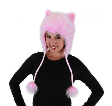 Pink pussy cat hat in faux fur.