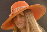 Striped Women's Sun Hat in orange