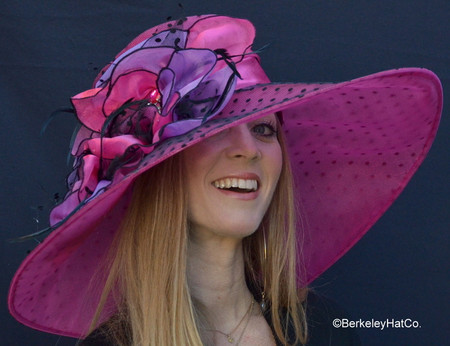 Packable Hat for the Kentucky Derby in Fuchsia