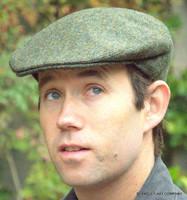 Herringbone Irish Wool Tweed Ivy Cap, Green