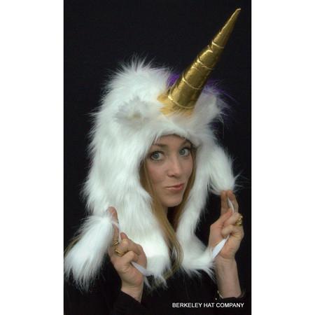 Unicorn Hat Faux Fur in white