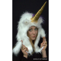 Unicorn Hat Faux Fur in white