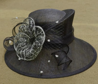 Black Wild Animal Print Kentucky Derby Hat with White Accents